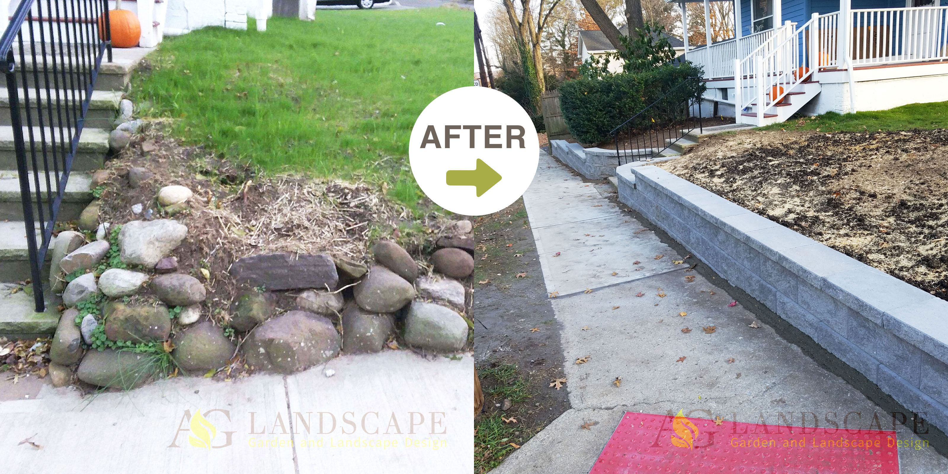 A&G Construction Retaining wall before&after2